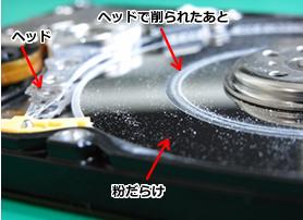 プラッターの磁性体にヘッドで削られた事による円周状に深い傷が入っている写真。プラッター表面に削られた粉が散乱している。