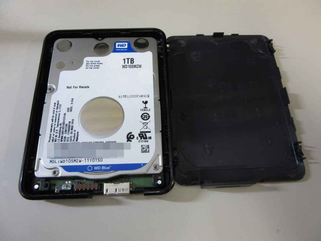 WD Elements WDBUZG0010BBK-0B 1TBポータブルHDD LEDが点滅して認識しない