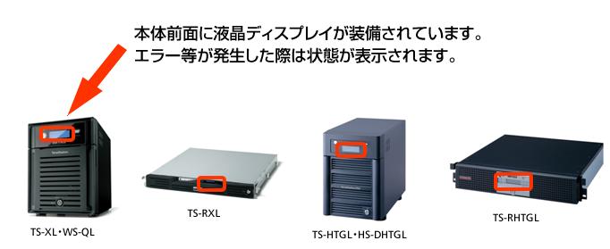 本体前面に液晶ディスプレイが装備されています。エラー等が発生した際は状態が表示されます。